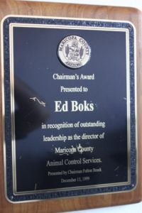 Ed Boks and Maricopa County BOS Award